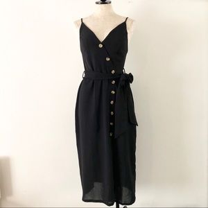Vici black button up midi belted dress